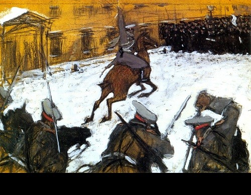 Valentin Serov. 'Soldiers, heroes everyone, where is all your glory'. 1905. Tempera and charcoal on cardboard. Russian Museum, St. Petersburg
