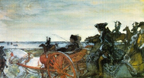 Russian artists Wanderers. Valentin Serov. Catherine II Setting out to hunt with Falcons. 1902