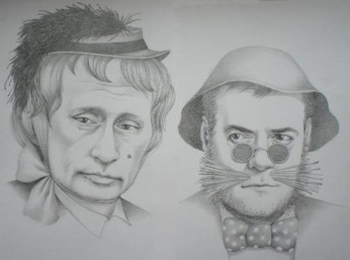 Vladimir Putin and Dmitry Medvedev as Alice the fox and cat the Basil. Political caricature by Viktoria Tsarkova