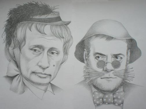Vladimir Putin and Dmitry Medvedev as Alice the fox and cat the Basil. Political caricature