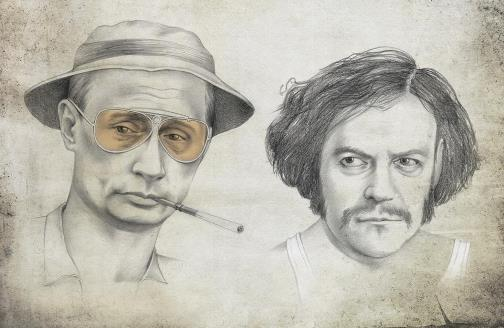 Vladimir Putin and Dmitry Medvedev, as Raoul Duke and Dr. Gonzo from 'Fear and Loathing in Las Vegas'. Political caricature by Viktoria Tsarkova