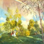 Konstantin Somov. Lanscape with a Rainbow. 1915. Oil on canvas mounted on cardboard. Valk collection, St. Petersburg