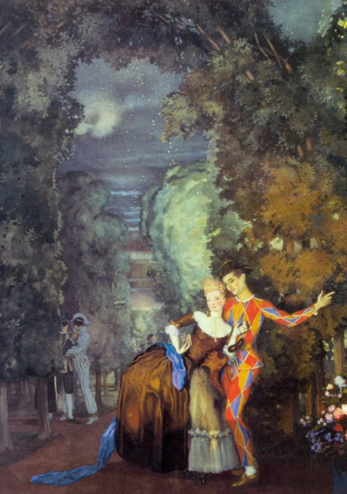 artist Konstantin Somov. Harlequin and Lady. 1912. Watercolor and gouache on paper mounted on cardboard. Tretyakov Gallery, Moscow