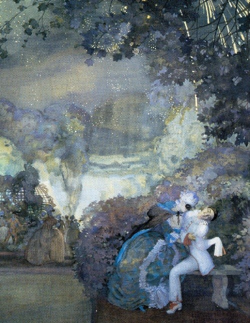 Konstantin Somov. Pierrot and Lady. 1910. Gouache on paper. Picture Gallery, Odessa