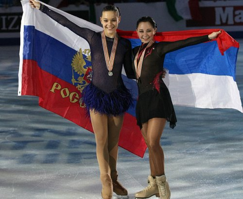 Adelina Sotnikova and Elizaveta Tuktamysheva at the European Championships