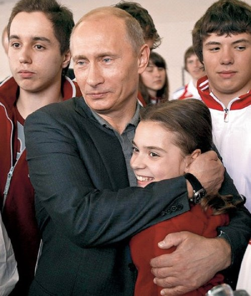 Adelina Sotnikova and Russian president Vladimir Putin