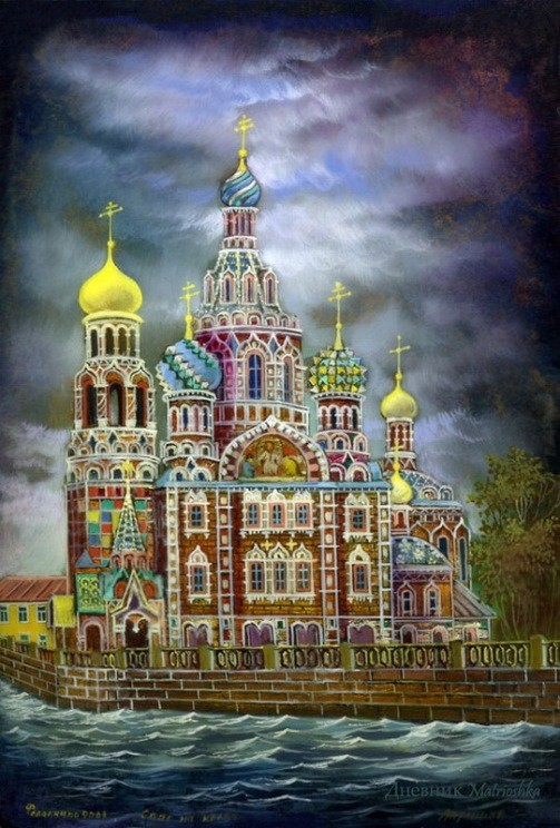 Gold domes of Russia by Fedoskino artists