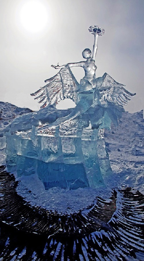 Dream fated by gods, or the Way to Lake Baikal. Sculpture by Siberian artists