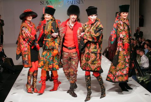Fashion show of Slava Zaitsev featuring creations with inspired by traditional Pavlovsky Posad shawls.