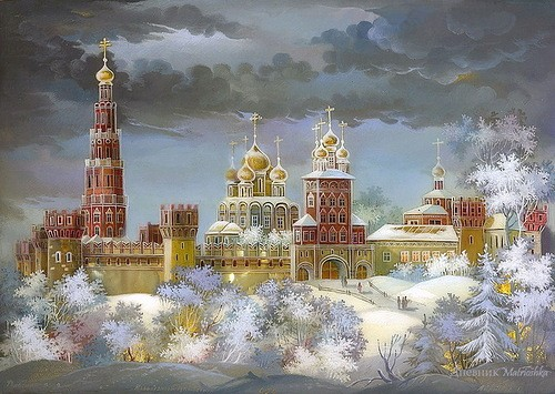 Gold domes of Russia - painting on lacquer boxes. The work of Fedoskino artists