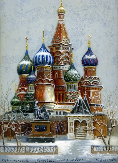 Gold domes of Russia - painting on lacquer boxes. The work of artist Borisova