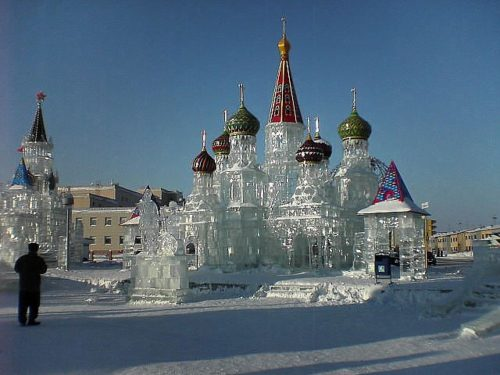 Ice sculpture Crystal Palace, in the town of Gubkinsky, Yamalo-Nenets Autonomous Okrug, Russia