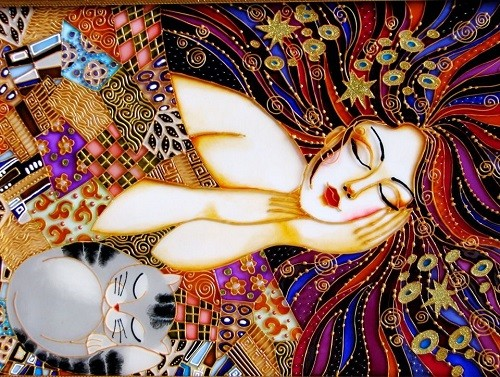 In a dream world. Stained glass painting by St. Petersburg artist Iris