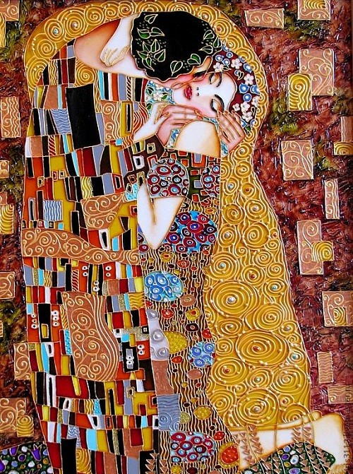 Kiss by St. Petersburg artist Iris. Stained glass painting by Iris