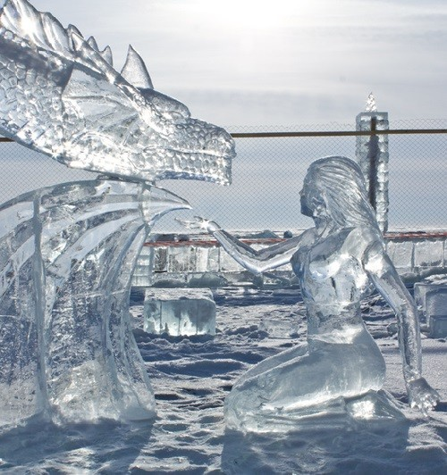 Mermaid, Ice sculpture on the Baikal