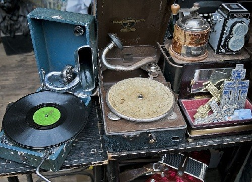 Old records players, gramophones
