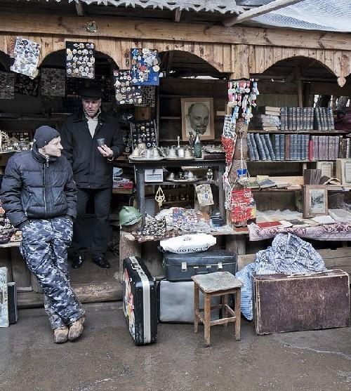 Outside the flea market. Moscow flea markets