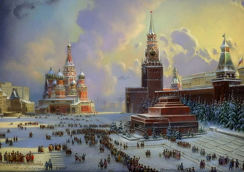 Red Square. The work of Fedoskino artists