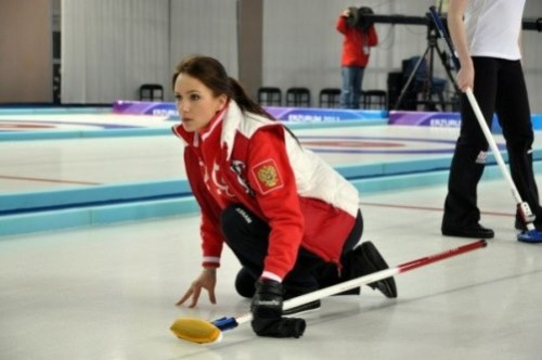 Skip of the Russian women's curling team Anna Sidorova