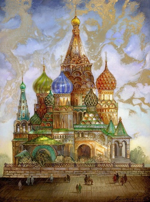 St. Basil's Cathedral. Fedoskino lacquer painting on box