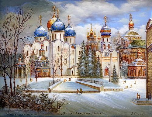 Trinity Lavra of St. Sergius. Fedoskino Artist Gaiduk
