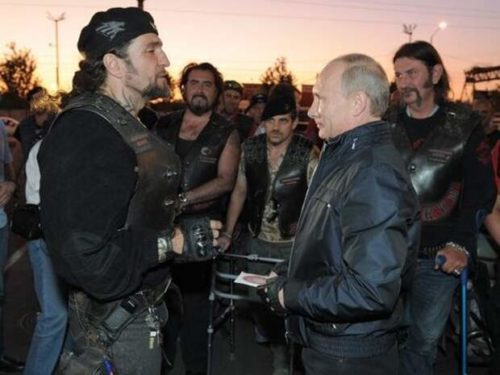Vladimir Putin, President of Russia, and Alexander Zaldostanov - 'Surgeon', president of motor club 'Night Wolves'