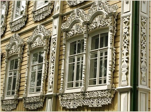 Wooden lace of Russian architecture. Tomsk
