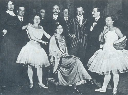 Ida Rubinstein (seated center), Michel Fokine, Leon Bakst, and Olga Preobrajenska (standing at right) with Italian singers at La Scala, Milan. 1910s
