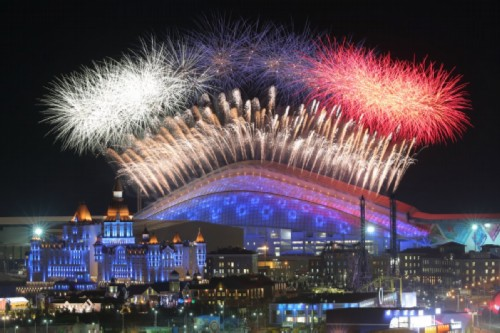 Fireworks over Fisht Stadium during the opening ceremony of the 2014 Winter Olympics in Sochi on February 7, 2014.