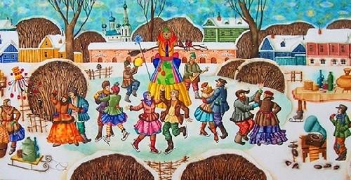 Russian Maslenitsa. Artist I. Pankovskaya