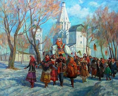 Russian Maslenitsa. Artist Alexander Brusilov