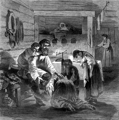 Russian Maslenitsa. Forgiveness Day in a peasant family. Engraving on a drawing by K. Kryzhanowski, NI Sokolova