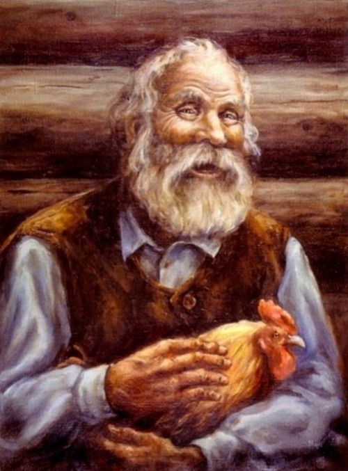 Old man with a cockerel