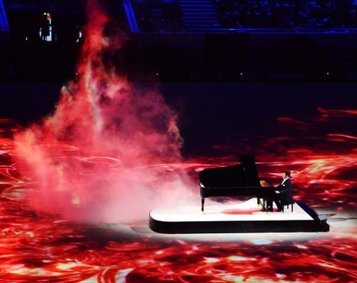 Pianist Denis Matsuev performs at the closing ceremony of the XXII Olympic Winter Games