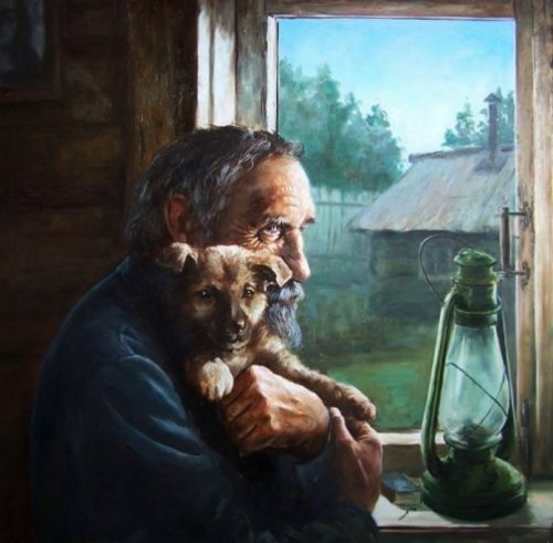 Two lonelinesses. Painting by Mikhail Shchrilev, Russian self-taught artist