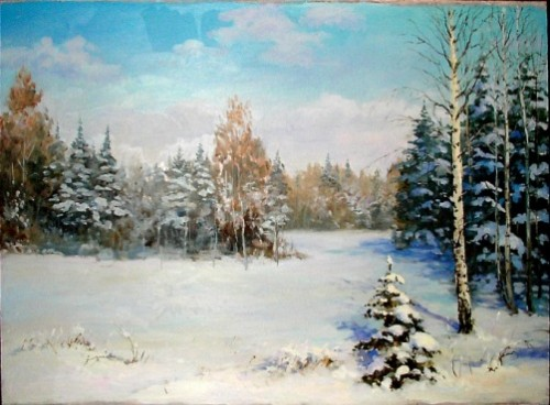Under the winter sun. Painting by Mikhail Shchrilev, Russian self-taught artist