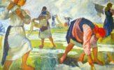 Zinaida Serebryakova. Bleaching Linen. Russian art Tretyakov Gallery
