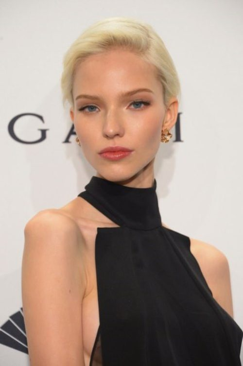 Sasha Luss in the 2014 amfAR New York Gala at Cipriani Wall Street on February 5, 2014 in New York City