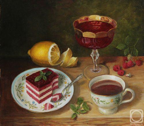 Tea with raspberry jam