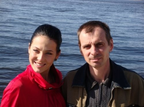 Julia Alipova with her father