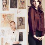 Sasha Pivovarova with her artworks