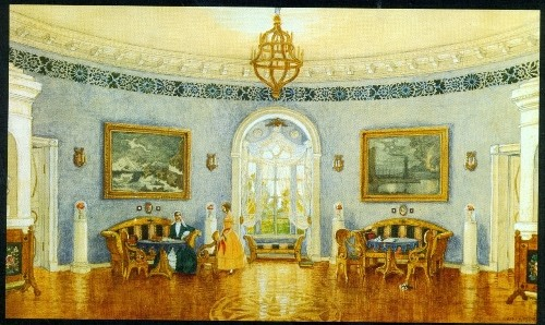 Mstislav Dobuzhinsky. The Blue Drawing Room. Set design for Act I of Turgenev's A Month in the Country (Moscow Art Theater). 1909. Watercolor, gouache, and pencil on paper mounted on cardboard. Tretyakov Gallery, Moscow