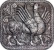 Panel 'Gryphon'. From the series 'Vladimir-Suzdal antiquity'. aluminum, relief embossing, blackening