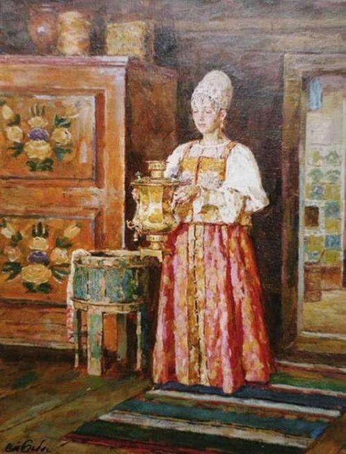 Russian woman with a samovar