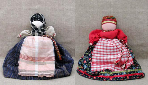 Russian Patchwork dolls by Marina Mishina. Doll Old Woman-Young (doll-changeling Girl-Baba)