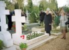Sainte-Genevieve-des-Bois Russian Cemetery. President of Russia Vladimir Putin and his wife visiting the Russian cemetery Genevieve-des-Bois in Paris, November 2000