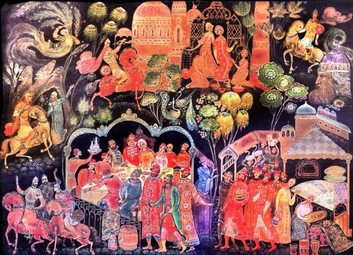 Russian tale Ruslan and Lyudmila, Palekh Lacquer (the image can be enlarged)