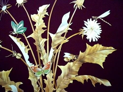 Straw art by Lydiya Retivskaya. Applique bouquet of flowers