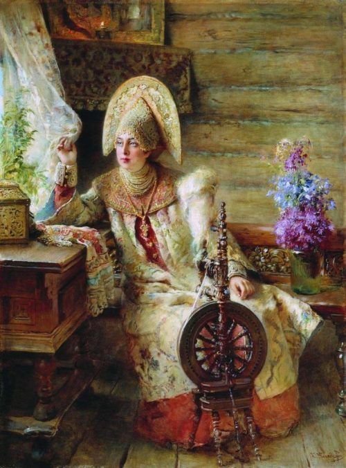 Konstantin Makovsky. The noblewoman with a spinning wheel by the window
