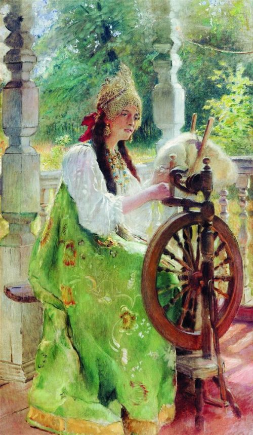 Behind the spinning wheel (portrait of Olga's daughter